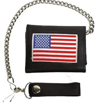4 inch Motorcycle Leather Chain Wallet - Tri-Fold - USA Flag Style - SKU AC55-USAFLAG-DL