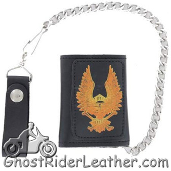 4 inch Motorcycle Leather Chain Wallet - Tri-Fold - Black or Brown - Eagle Style - SKU AC55-EAGLE2-DL