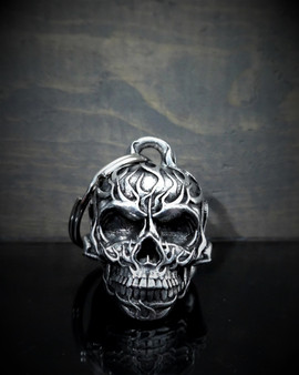 Flame Skull - Pewter - Motorcycle Ride Bell - Made In USA - SKU BB53-DS