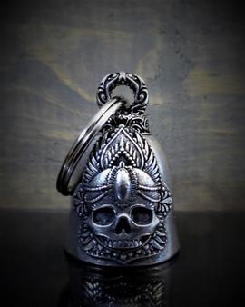Mandala Skull Rose - Pewter - Motorcycle Spirit Bell - Made In USA - SKU BB65-DS