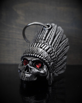 Indian Skull Diamond - Pewter - Motorcycle Spirit Bell - Made In USA - SKU BB74-DS
