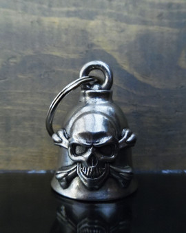 Skull Crossbones - Pewter - Motorcycle Spirit Bell - Made In USA - SKU BB81-DS