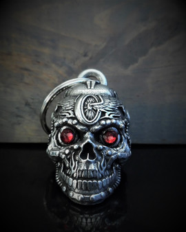 Motorhead Skull Diamond - Pewter - Motorcycle Gremlin Bell - Made In USA - SKU BB112-DS
