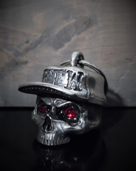 FTW Skull Hat Diamond - Pewter - Motorcycle Gremlin Bell - Made In USA - SKU BB107-DS