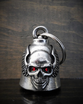 Skull Upwing Diamond - Pewter - Motorcycle Gremlin Bell - Made In USA - SKU BB98-DS