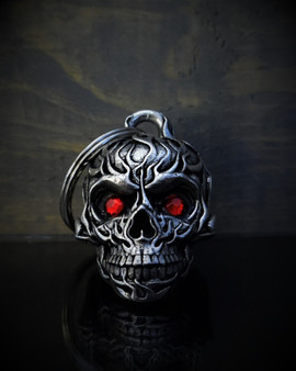 Flame Skull Diamond - Pewter - Motorcycle Gremlin Bell - Made In USA - SKU BB73-DS