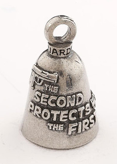 2nd Amendment Protects 1st - Pewter - Motorcycle Guardian Bell® - Made In USA - SKU GB-2ND-PROTECTS-DS