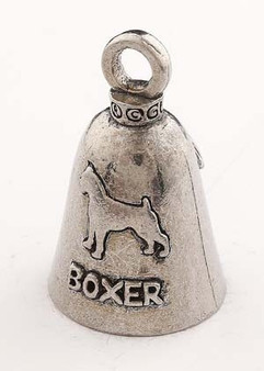 Boxer Dog - Pewter - Motorcycle Guardian Bell - Made In USA - SKU GB-BOXER-DOG-DS