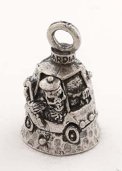 Golf - Skull - Pewter - Motorcycle Guardian Bell - Made In USA - SKU GB-GOLF-DS