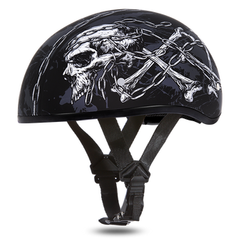 DOT Approved Motorcycle Helmet With Skull and Chains - SKU D6-SC-DH