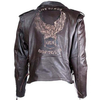 Embossed Eagle Retro Brown Motorcycle Jacket with Side Laces and Live To Ride - SKU MJ703-02-DL