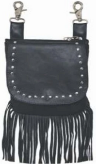 Ladies Leather Clip On Bag With Studs and Fringe Design - SKU 9729-00-UN