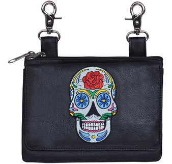 Ladies Leather Clip on Bag With Sugar Skull Design - SKU 5740-00-UN