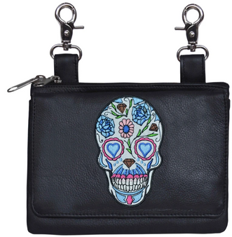 Ladies Leather Clip on Bag With Sugar Skull Design - SKU 5737-00-UN
