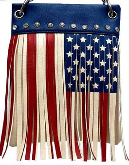 American Flag Crossbody Handbag With Fringe - SKU CHIC410-BLUE