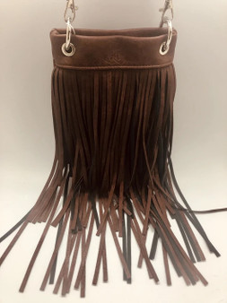 Brown Crossbody Handbag With Fringe - SKU CHIC931-DKBR