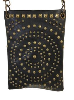 Black Crossbody Handbag With Antique Bronze Studs - SKU CHIC1001-BLK-DS