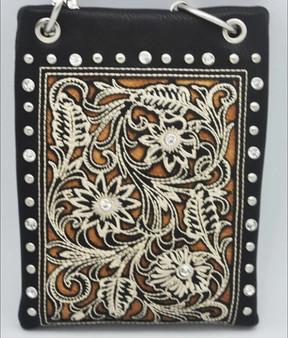 Black Crossbody Handbag With Western Boot Pattern - SKU CHIC802-BLK-DS