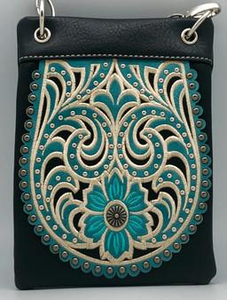 Black Crossbody Handbag With Western Floral Pattern - SKU CHIC127-BLK-DS
