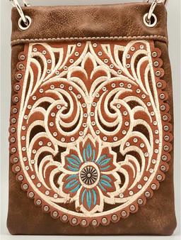 Brown Crossbody Handbag With Western Floral Pattern - SKU CHIC127-BRW-DS