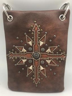 Brown Crossbody Handbag With Compass Arrow - Boho Style - SKU CHIC780-BRW-DS