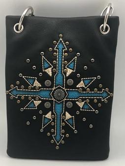 Black Crossbody Handbag With Compass Arrow - Boho Style - SKU CHIC780-BLK-DS