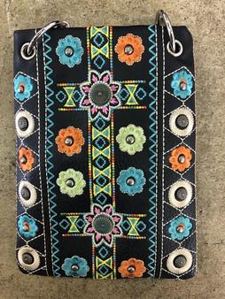 Black Crossbody Handbag With Multi Color Flower Embroidery - Boho Style - SKU CHIC266-BLK-DS