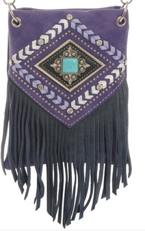 Purple Crossbody Handbag With Crystals, Fringe and Embroidery - SKU CHIC728-PRPL-DS