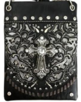 Black Crossbody Handbag With Bling and Cross Design - SKU CHIC189-BLK-DS