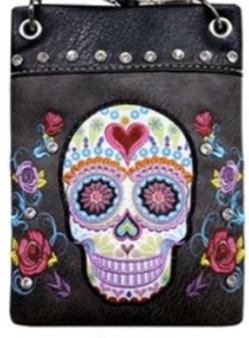 Black Crossbody Handbag With Bling and Sugar Skull Design - SKU CHIC902-BLK-DS