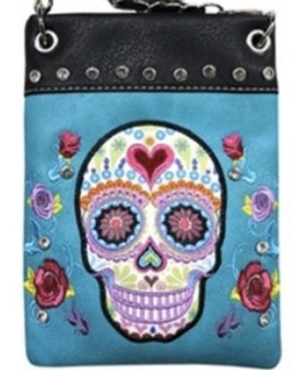 Turquoise Crossbody Handbag With Bling and Sugar Skull Design - SKU CHIC902-TRQ-DS
