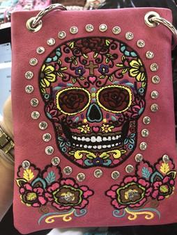 Fuchsia Crossbody Handbag With Bling and Sugar Skull Design - SKU CHIC866-FU-DS