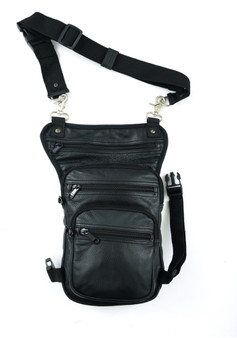 Black Leather Thigh Bag with Gun Holster Pocket - SKU DS5851-DS
