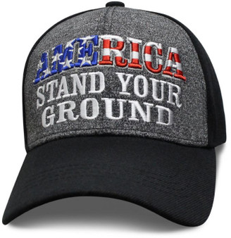 America Stand Your Ground - Baseball Cap - Black and Heather - SKU SAMSTD-DS