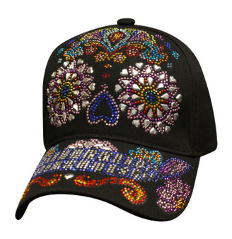 Bling Sugar Skull - Colorful - Baseball Cap - SKU SBLSUSK-DS