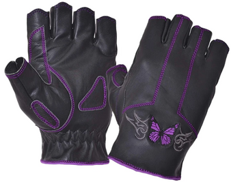 Ladies Purple Butterfly Fingerless Leather Gloves - SKU 8363-17-UN