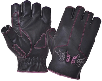 Ladies Pink Butterfly Fingerless Leather Gloves - SKU 8363-24-UN