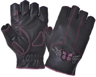 Women's Fingerless Leather Motorcycle Gloves - Pink Butterfly Design - SKU 8363-24-UN