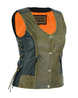 Ladies Two Tone Leather Vest With Grommet and Lacing Accents - SKU DS298-DS