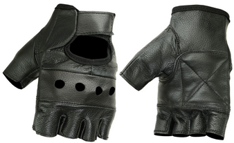 Fingerless Unisex Leather Biker Gloves - SKU DS11-DS