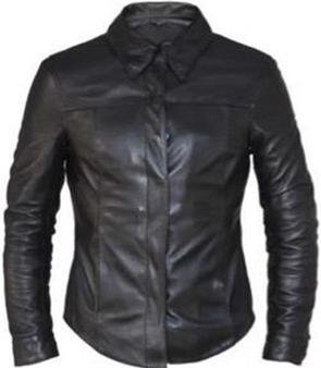 Ladies Premium Black Leather Motorcycle Shirt - SKU 6846-00-UN