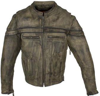 Men's Distressed Brown Leather Jacket With Concealed Carry Pockets - SKU MJ796-12-DL