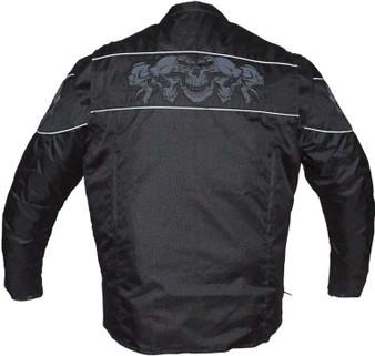 Men's Textile Jacket with Reflective Skulls - Concealed Carry Pockets - MJ825-CC-DL