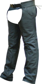 Men's Motorcycle Matte Black Buffalo Leather Chaps - SKU AL2430-AL