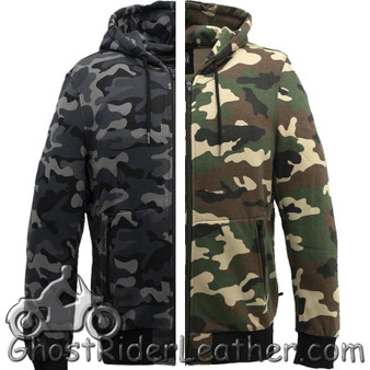 Hoodie - Men's Hoodie With Zipper - Choice of Blue Camo or Green Camo - SKU FIM481H-FM