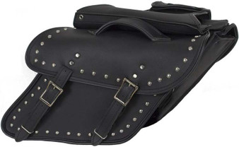 Black Leather Motorcycle Saddlebags With Studs For Harley Davidson Dyna - SD4088-DYNA-S-LEATHER-DL