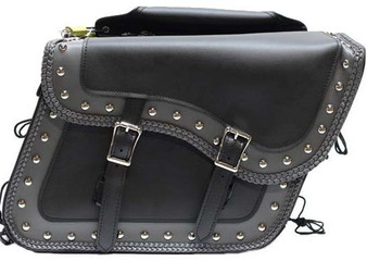 Black and Gray Slanted PVC Motorcycle Saddlebags with Studs - Motorcycle Luggage - SKU SD4054-PV-DL