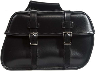 Black PVC Motorcycle Saddlebags With Hook - For Motorcycle Storage - SKU SD4079-HOOK-DL