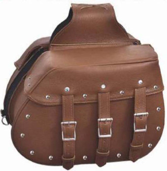 Brown Leather Motorcycle Saddlebags with Studs - Motorcycle Luggage - SKU 9351-ZP-UN