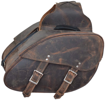 Distressed Leather Motorcycle Saddlebags - Motorcycle Luggage - SKU 9352-ZP-UN